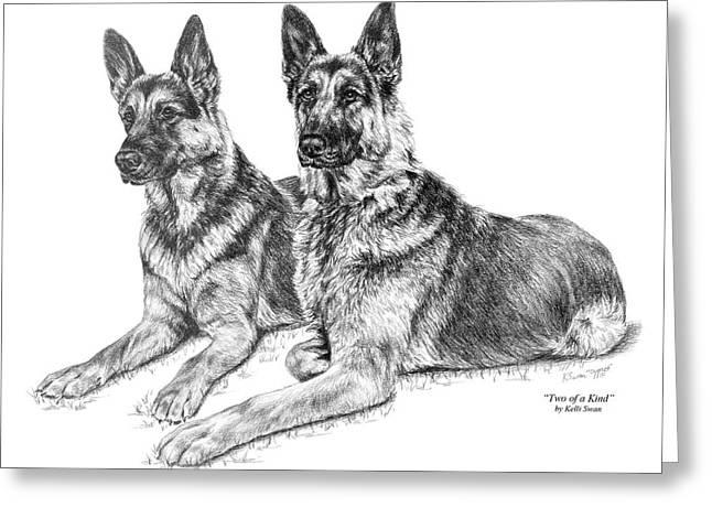 Two Of A Kind - German Shepherd Dogs Print Greeting Card by Kelli Swan