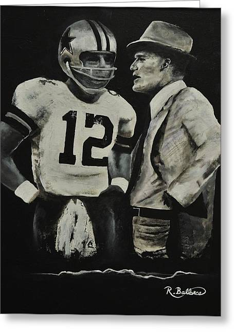 Pro Football Paintings Greeting Cards - Two of the Greastest Minds in Pro-Football Greeting Card by Robert Ballance