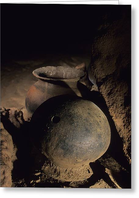 Pre Columbian Architecture And Art Greeting Cards - Two Of The Hundreds Of Pots Found Greeting Card by Stephen Alvarez