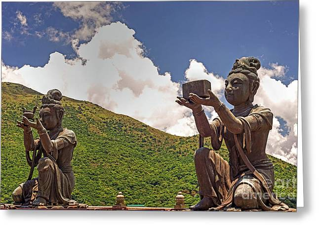 Two Of The Six Devas Give Offerings To The Tian Tan Buddha Greeting Card by Chris Smith