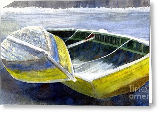 Two Old Boats On The Beach Greeting Card