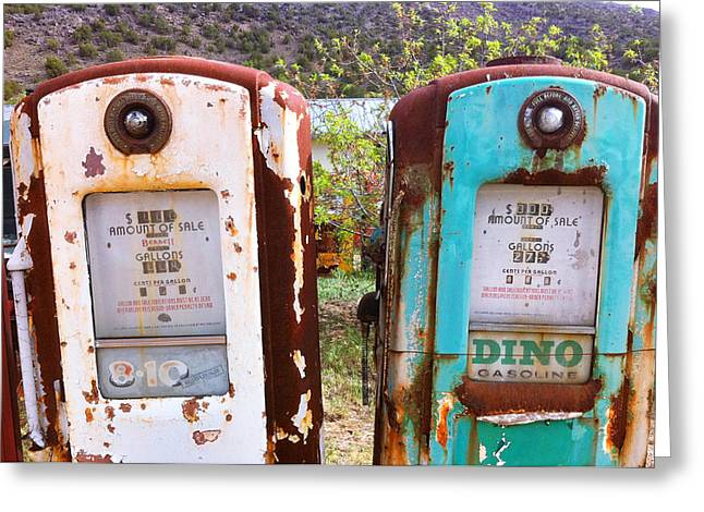 Rusted Cars Greeting Cards - Two Old Gas Pumps Greeting Card by Matt Suess