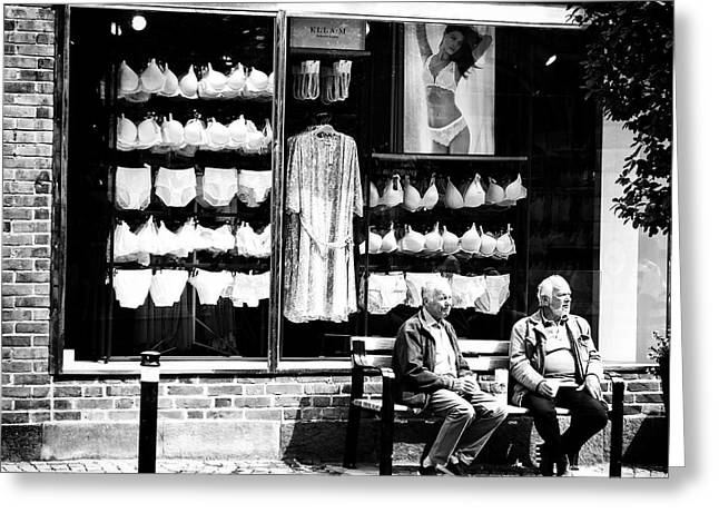 Two Old Men And Lingerie Greeting Card by Karen Stahlros