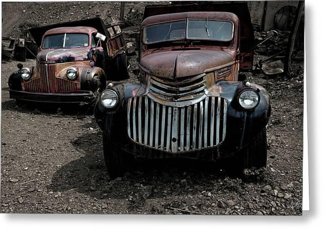 Two Old Trucks Greeting Card by David Gordon