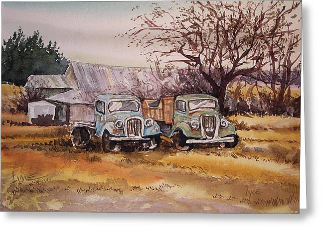Two Old Trucks Greeting Card
