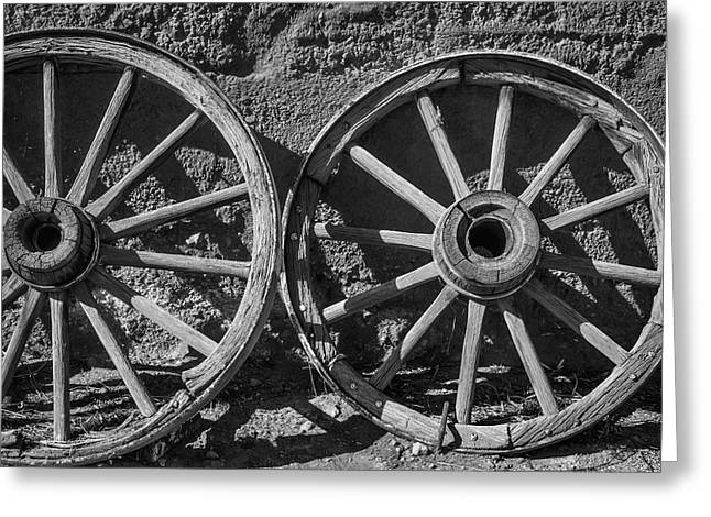 Two Old Wagon Wheels Greeting Card