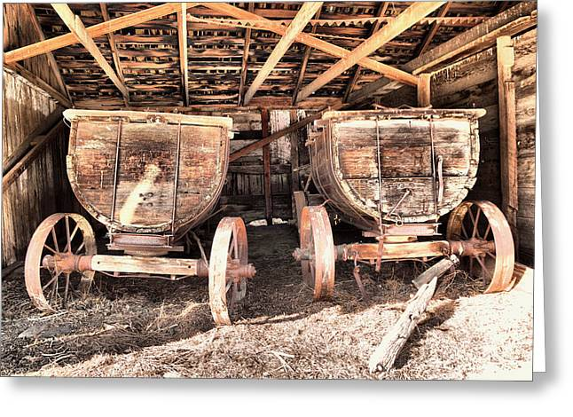 Greeting Card featuring the photograph Two Old Wagons by Jeff Swan