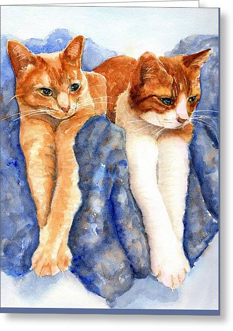 Greeting Card featuring the painting Two Orange Tabby Cats by Carlin Blahnik CarlinArtWatercolor