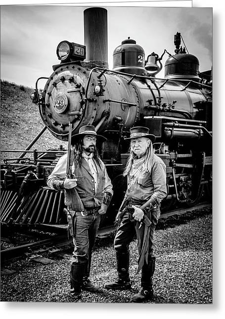 Two Outlaws And Steam Train Greeting Card