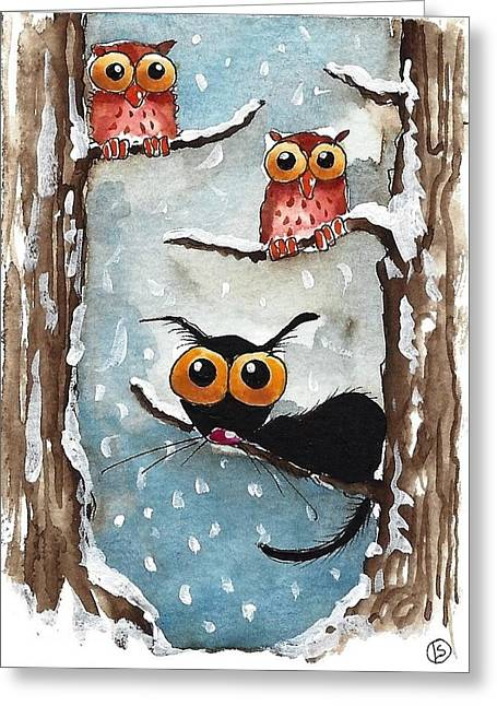 Two Owls And A Cat Greeting Card by Lucia Stewart