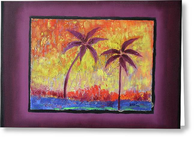 Greeting Card featuring the painting Two Palm Trees by Karin Eisermann
