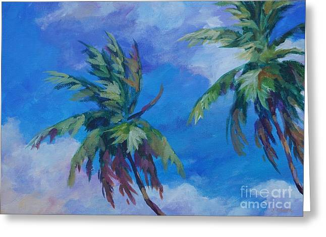 Two Palms And Clouds Greeting Card by John Clark