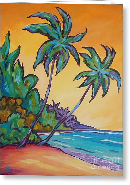 Two Palms Greeting Card by John Clark