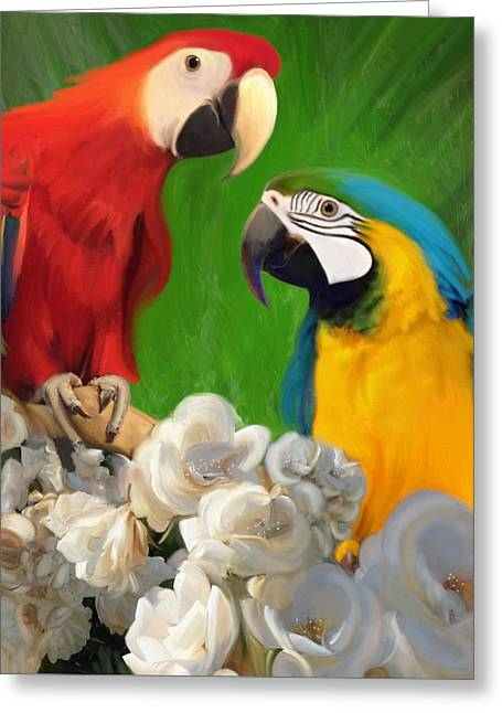 Two Parrots And White Roses Greeting Card