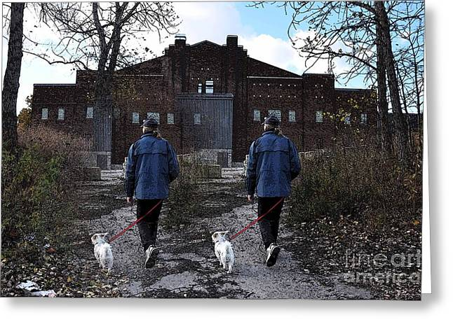 Dog Walking Digital Art Greeting Cards - Two Paths Greeting Card by Reb Frost