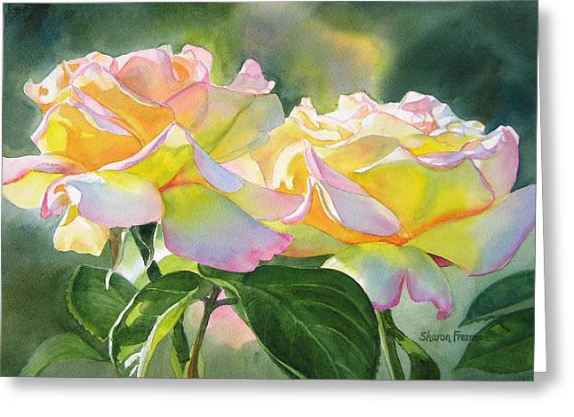 Two Peace Rose Blossoms Greeting Card by Sharon Freeman