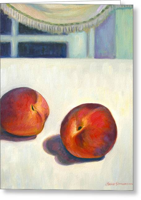 Two Peaches At Night Greeting Card by Jane  Simonson