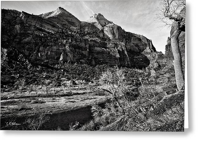 Two Peaks - Bw Greeting Card by Christopher Holmes