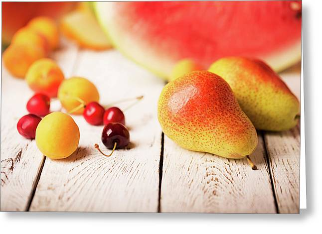 Two Pears And Other Fruits Greeting Card by Vadim Goodwill
