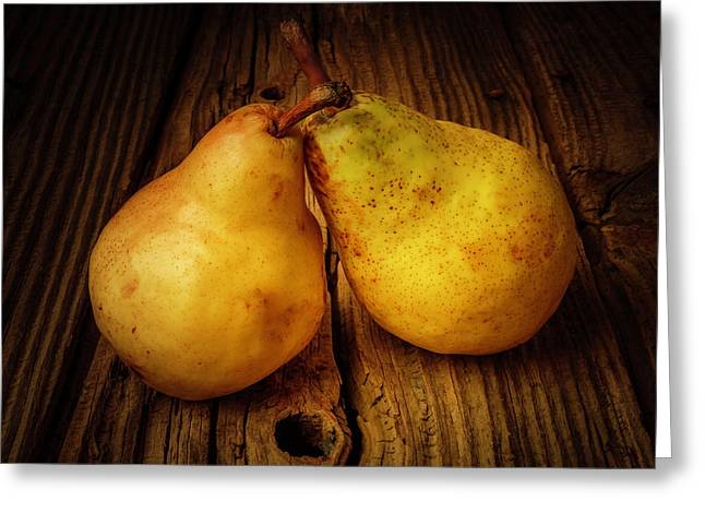 Two Pears Still Life Greeting Card by Garry Gay