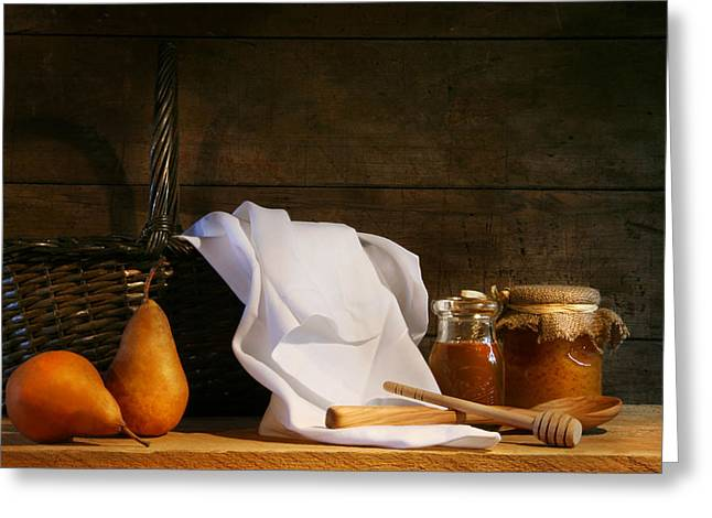 Two Pears With White Cloth Greeting Card by Sandra Cunningham