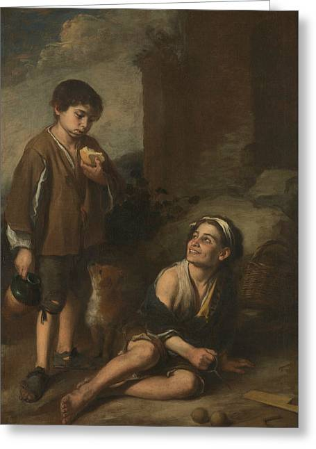 Two Peasant Boys Greeting Card by Bartolome Esteban Murillo