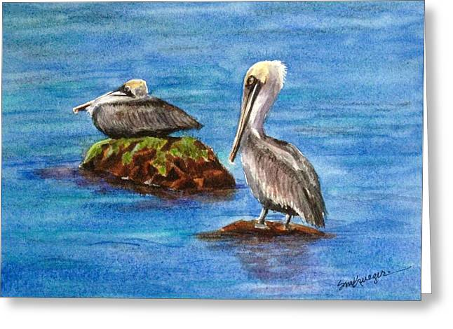Two Pelicans Greeting Card by Suzanne Krueger