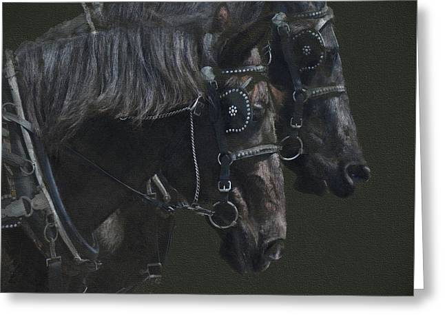 Two Percherons Greeting Card by Kathy Russell
