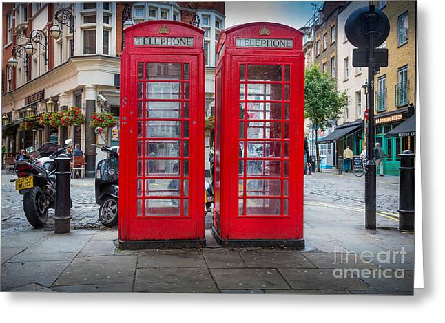 Two Phone Booths In London Greeting Card