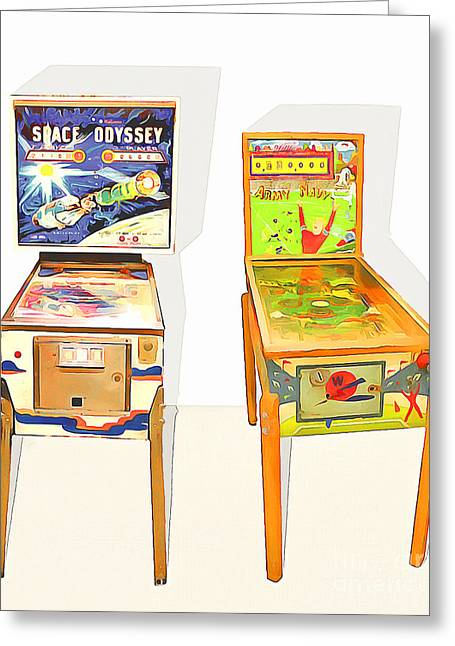 Two Pinball Machines 20160226 Greeting Card by Wingsdomain Art and Photography