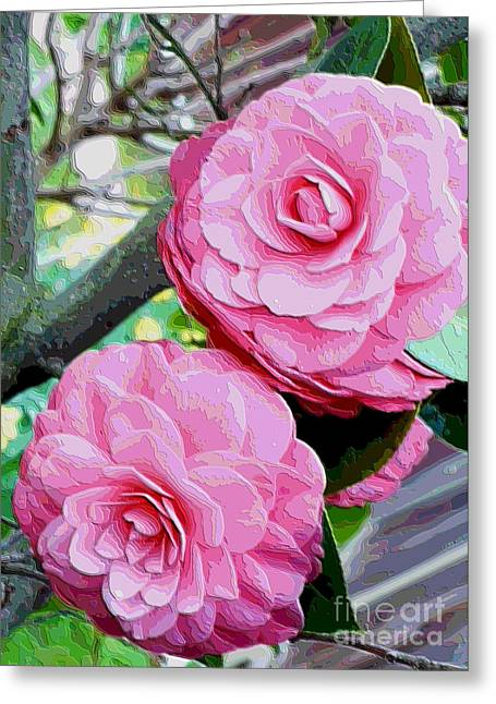 Two Pink Camellias - Digital Art Greeting Card by Carol Groenen