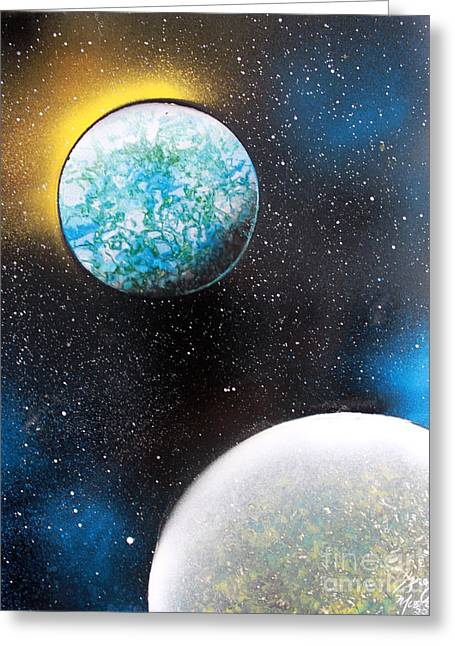 Two Planets Greeting Card by Greg Moores