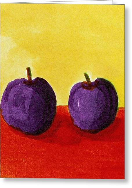 Two Plums Greeting Card by Michelle Calkins