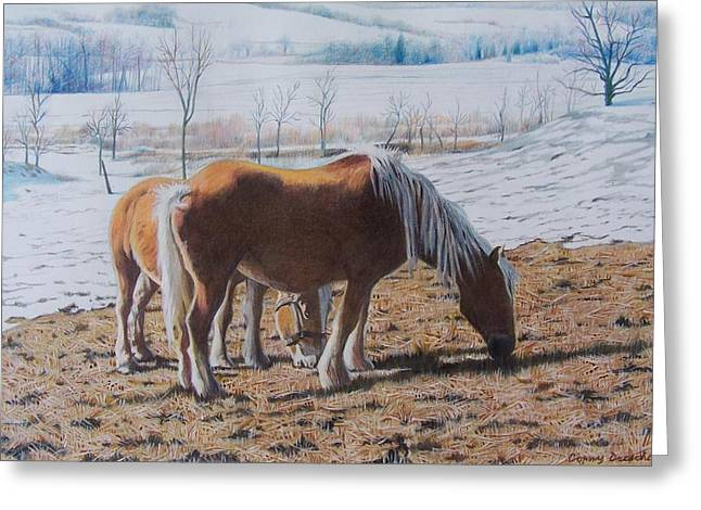 Greeting Card featuring the mixed media Two Ponies In The Snow by Constance Drescher