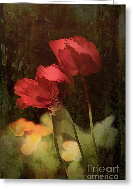 Two Poppies Greeting Card by Elaine Teague