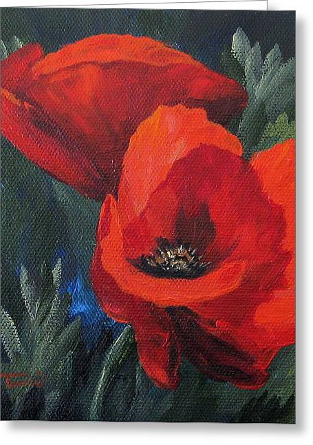 Two Poppies  Greeting Card by Torrie Smiley