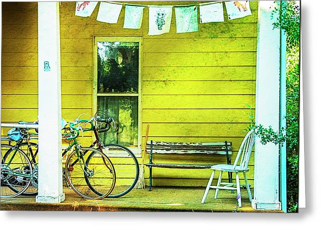 Greeting Card featuring the photograph Two Porch Bicycles by Craig J Satterlee