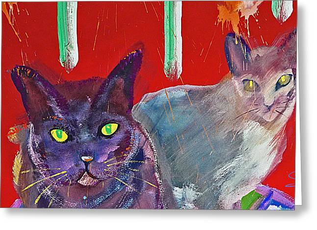 Cat On Back Greeting Cards - Two Posh Cats Greeting Card by Charles Stuart