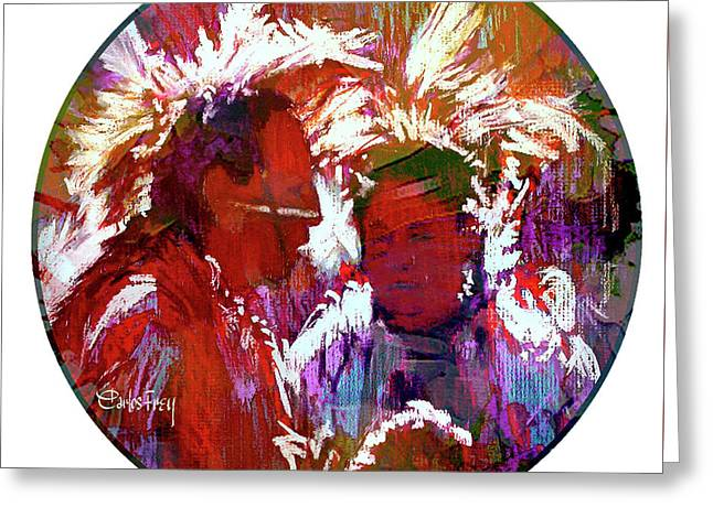 Two Pow-wow Dancers Visiting Greeting Card