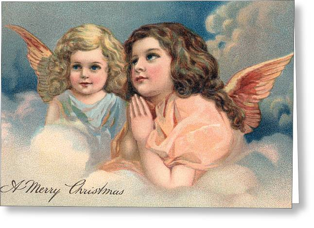Two Praying Christmas Angels Greeting Card by American School