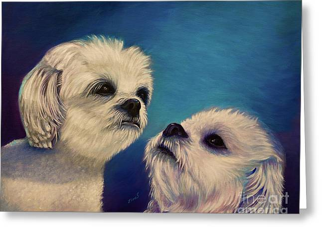 Two Puppies Greeting Card