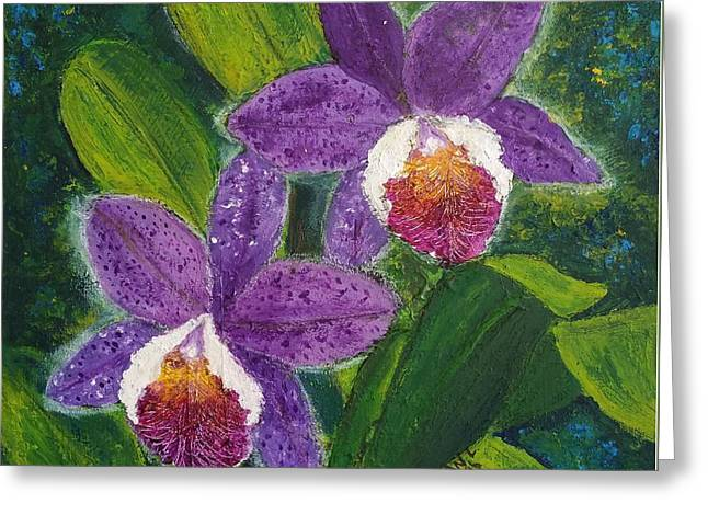 Two Purple Cattleyas Orchids Greeting Card by Jean L Fassina