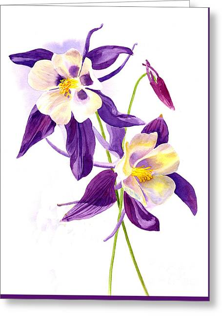 Two Purple Columbine Flowers Greeting Card by Sharon Freeman