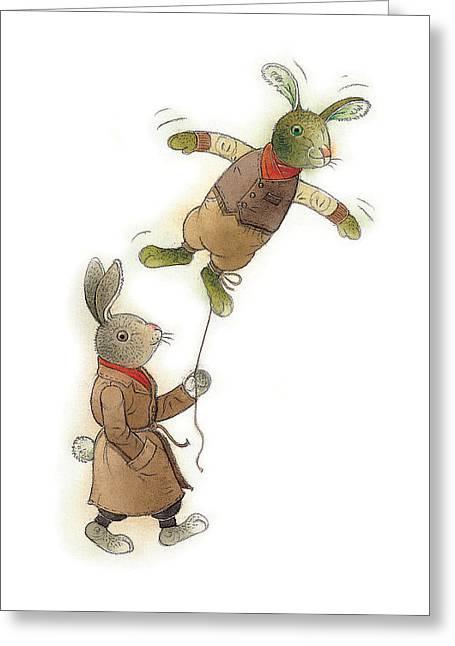 Two Rabbits 02 Greeting Card by Kestutis Kasparavicius