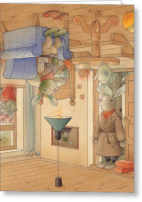 Two Rabbits Greeting Card by Kestutis Kasparavicius