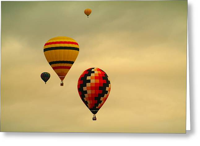 Two Racing Balloons Greeting Card