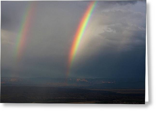 Greeting Card featuring the photograph Two Rainbows by Ron Chilston