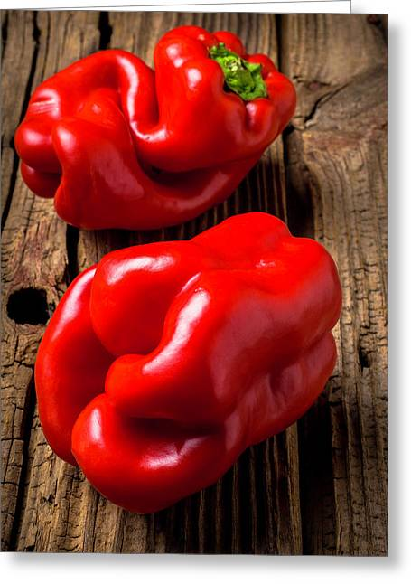 Two Red Bell Peppers Greeting Card by Garry Gay