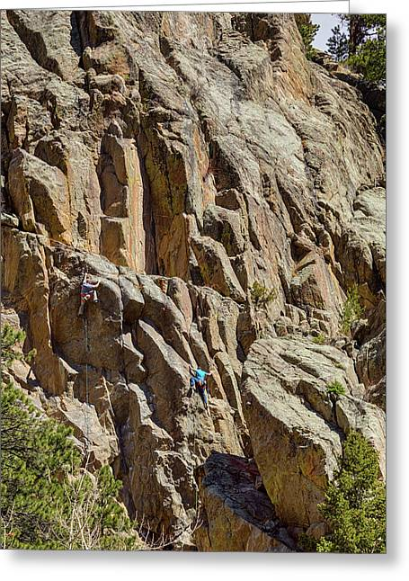 Greeting Card featuring the photograph Two Rock Climbers Making Their Way by James BO Insogna