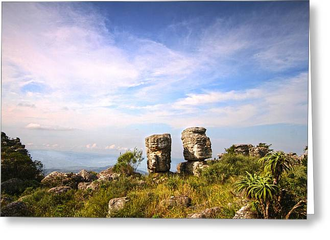 Two Rock Pinacles And Sky Landscape Photograph With Footpath At Kaapsehoop Greeting Card